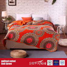 Polyester Printing Velvet Quilted Blanket for Home and Hotel