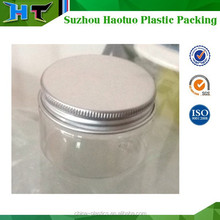 high quality aluminum cap small empty bottle plastic jam jar/ PET jar
