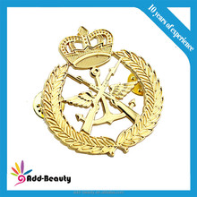 Zinc alloy die cut metal pin art with gold plated metal pin badge