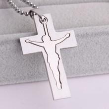 Silver cross jesús retrato de acero inoxidable colgantes collares