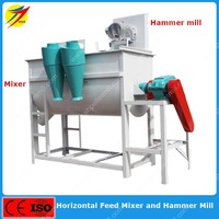 Horizontal animal feed pellet grinder and mixer