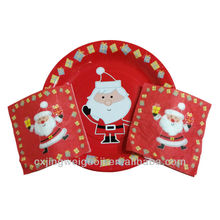 disposable Christmas party dinner paper tableware(paper plate,napkin)