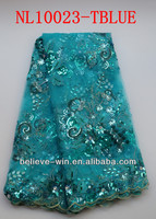 2014 newest style african beads french lace fabric (NL10023-tblue)