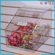 Limpar plexiglass fixado na parede dispensador de doces profissional para loja de varejo
