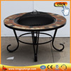 Table shaped garden treasures wood burning fire pit