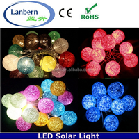 2015 new product hanging outdoor decorative 400colors solar powered cotton led string ball