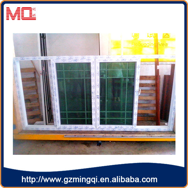 Best factory price pvc sliding glass window with grid for Upvc french doors india