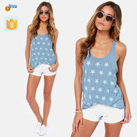 2015 Summer Cool Hot Sexy Loose T-shirt Star print sexy vest women latest tops for girls