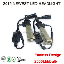 Factory!!! High quality 2500lm h7 led headlight kit fanless design for car motorcycle led headlight kit