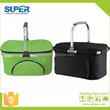 Popular design aluminium handle folding picnic baskets with cooler bags