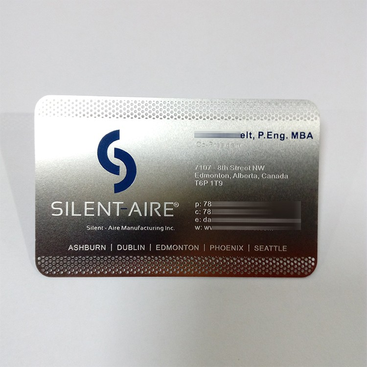 Stainless steel original color credit card size thin blue logo stainless steel original color credit card size thin blue logo engraved small text metal business card reheart Image collections