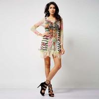 OEM Modern design printing urban street casual lady dress with long slevees