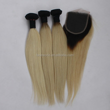 stock colored brazilian hair weave #1B/613 two tone hair extension