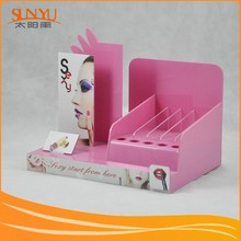 multifunctional PMMA pink cosmetic stand for makeup showcase