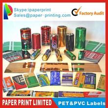 shrink sleeves bottle label/colored pvc printed heat shrink clear waterproof labels/shrink label manufacture