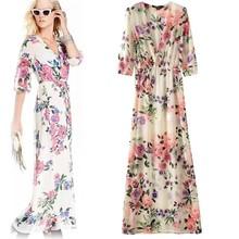 2015 European Style Women Clothing Sexy V-Neck 3/4 Quarter Sleeve Floral Print Long Maxi Dress