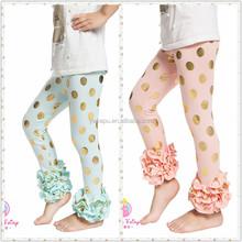 YIWU Factory Sale Children's Clothing pants/trousers,gold polk dot,girls ruffle leggings