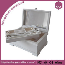 piano lacquer wood box with tray,white velvet jewelry gift case wood