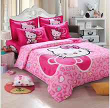 China Fashion Luxury 3D Printed Bedding sets Duvet Cover Bed sheet , Pink Hello Kitty