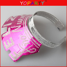 happy new year fancy glitter tiaras with foil headband assorted bulk manufacture