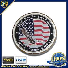 Silver plated soft enamel American coin for special events