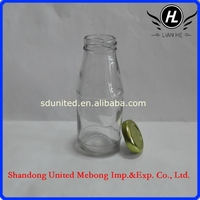 2015 hot sale new style 250ml milk glass bottles with screw cap