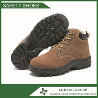 rubber outsole suede leather hard work and safety steel toe boots LJ-GB703