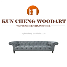 French Fabric divan living room wooden sofa/Anhui Kuncheng Wooden frame sofa