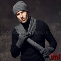 100% Cashmere Wholesale Knitted Scarf Beanie and Glove Sets