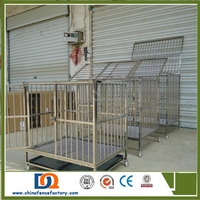 Double Door square tube Metal Dog Crate dog with cover