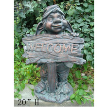 Gnome statue garden decoration welcome sign