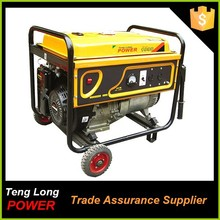 single cylinder gasoline fuel 5kva small generator for camping with price list for sale