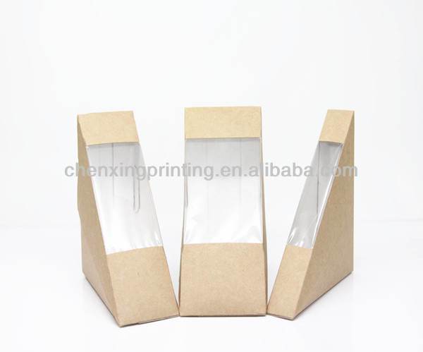 Wholesale hot triangle paper sandwich packaging box with for Triangle wholesale printing