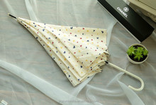 white with love shaped dots printing straight umbrella