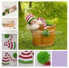 mão do bebê crochet chapéus a ordem por atacado natal longa cauda tampa de processamento e fabricação