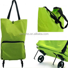 600D polyester canvas folding shopping trolley bag