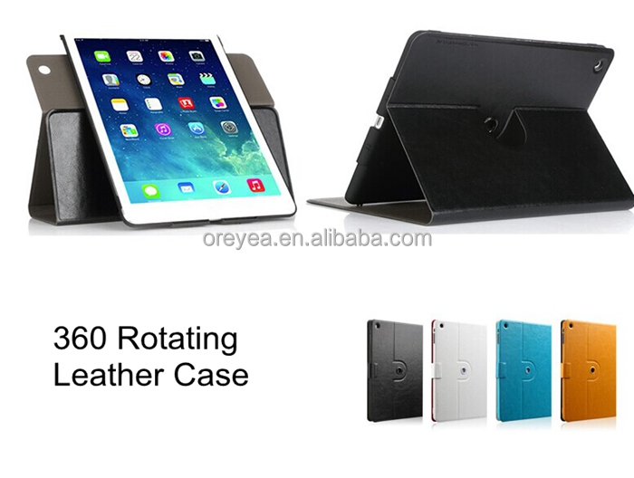 360 degrees rotation leather case for apple ipad mini air 2 3 4