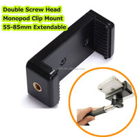 "Manufacture Wholesale 2015 Unique Design Double 1/4"" Screw Head Connection Mobile Phone Tripod Monopod Holder Adaptor Clip Mount"