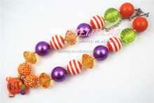 2015 hot ebay kid girl chunky necklace for baby cute Halloween Pumpkin pendant chunky necklace