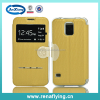 High quality phone case leather flip for Samsung galaxy S5 i9600 case