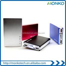 Popular Colorful Metal Fashion mobile charger , Rectangle 5000mah power bank