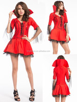 Ladies Red Devil with Fork Fancy Dress Uniform Party Costume Outfit