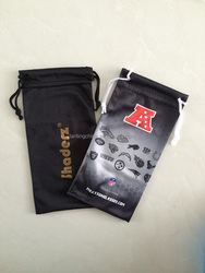custom Microfiber suede glasses pouch with double drawstring