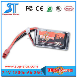 Shenzhen New Brand Wild scorpion 7.4V 1500mah rechargeable Li-Polymer RC Battery