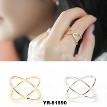 Best price Korea Ring female x three-dimensional surround cutout cross joint jumper rings for women