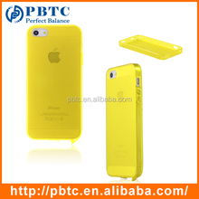 Set Screen Protector And Case For Iphone 5 , Yellow Universal Silicone Phone Case