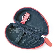 Oval Real Leather Headphones Case, Earphone Bag