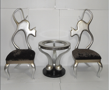 Cat Shaped Back Metal Chair New Model Good Quality Design Coffee Table Set For Home