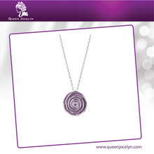 Purple Enamel with Crystal Flower Pendant Necklace Fashion Jewelry