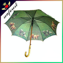 dog printed long handle umbrella,cheap custom print umbrella